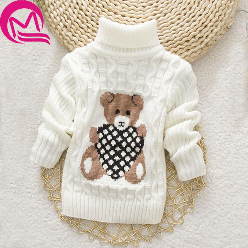 41a3221c77 Autumn Winter Baby Girl Sweater Pullover Cartoon Cute Bear Sweaters Knitwear  Children Pullover Clothes Kids Turtleneck Outerwear Free Knitting Patterns  ...