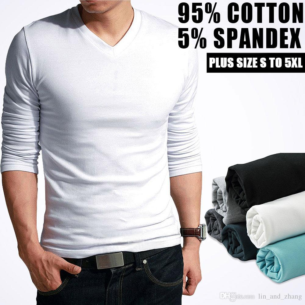681a68833af81 Hot Sale New spring high-elastic cotton t-shirts men's long sleeve v neck  tight t shirt free CHINA POST shipping Asia S-XXXXXL