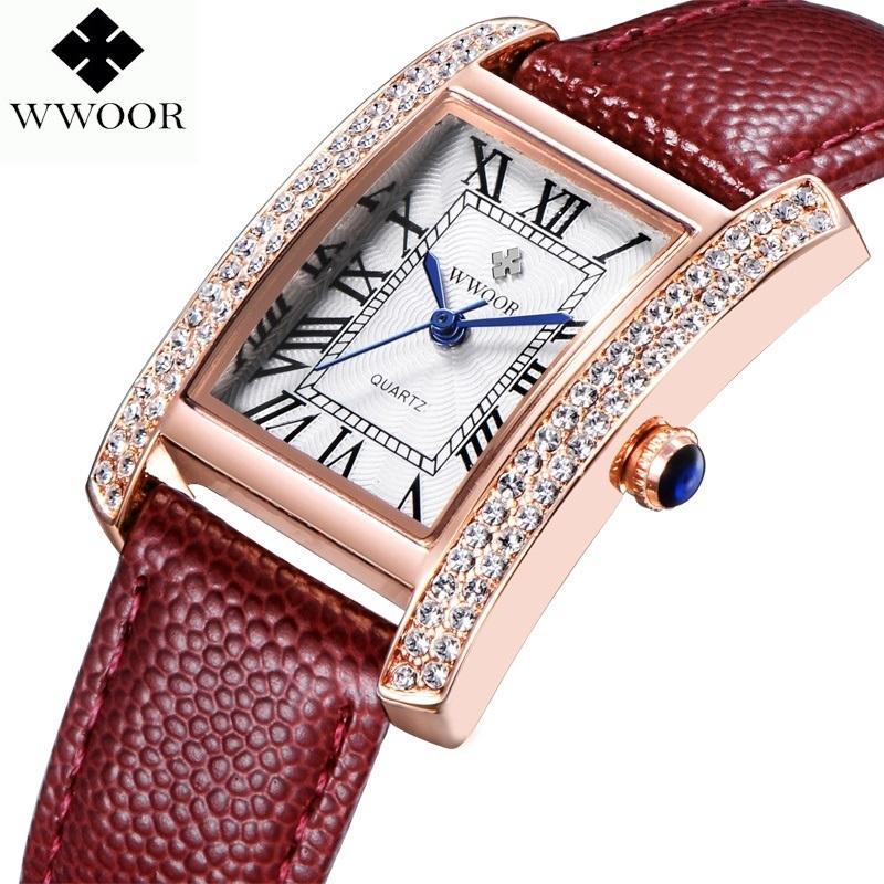 e98a7df28d8b Compre WWOOR 2016 Nueva Marca De Moda Relojes De Las Mujeres De Cuarzo Reloj  Diamantes Vestido De Las Señoras De Cristal Ocasional Reloj De Pulsera De  Cuero ...