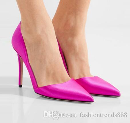 Sexy Pointed Toe Slip On Women Pumps Fuschia Silk Stiletto Heels Women  Wedding Shoes Summer High Heels Women Sandals Birkenstock Sandals Shoes For  Women ... 7b5ad7b08780