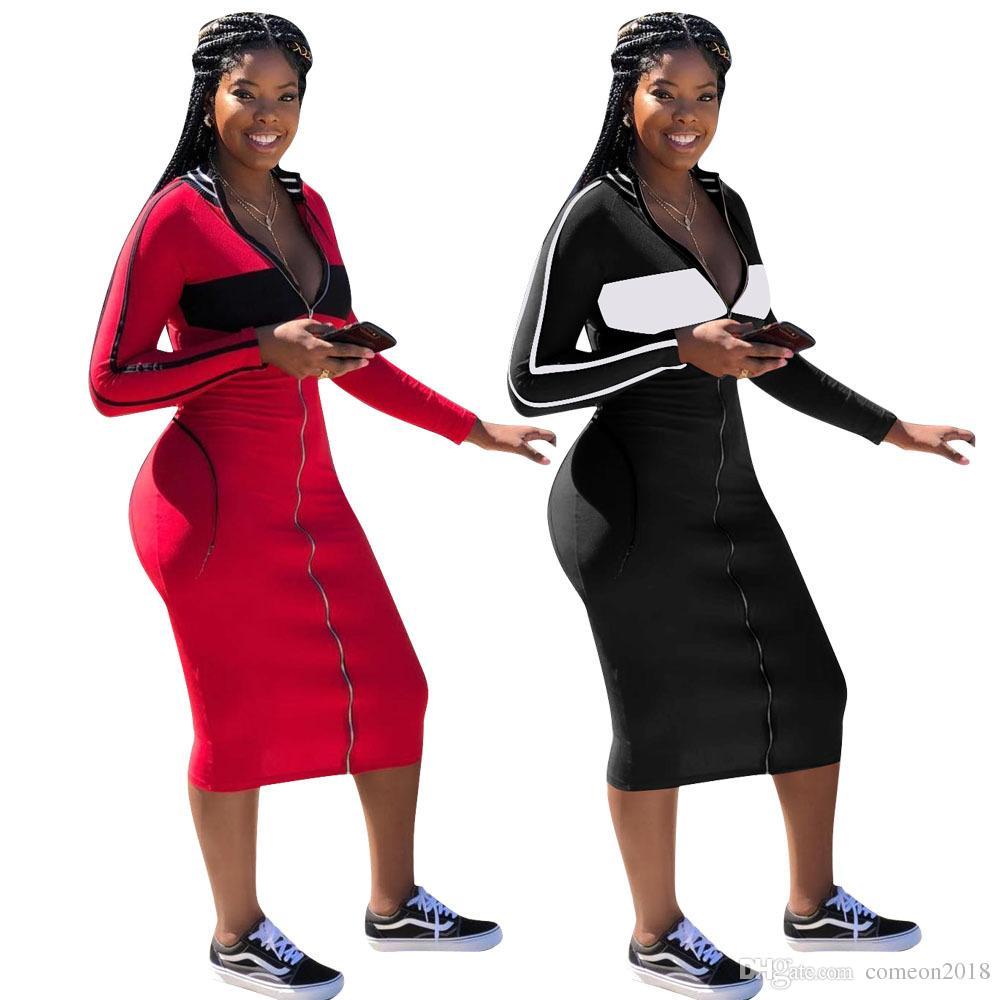 4b3826dcae866 Satın Al Tasarımcı Kadın Giyim Bodycon Elbiseler Patchwork Tarzı Midi  Elbise Sıcak Güz Nedeni Uzun Kollu V Boyun Ön Fermuar Seksi Kulüp Aşınma  Vestidos, ...
