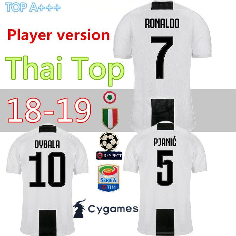 db738ad82 Player Version Juventus Home Soccer Jersey 18 19 7 RONALDO DYBALA ...