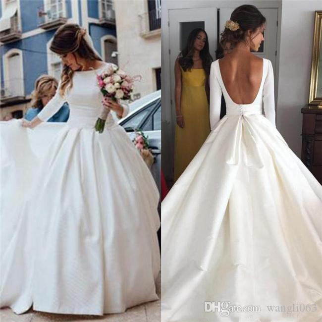 White Satin Ball Gown Wedding Dresses with Long Sleeves Bateau Neckline Draped Court Train Backless Plus Size Bridal Gowns Custom Made