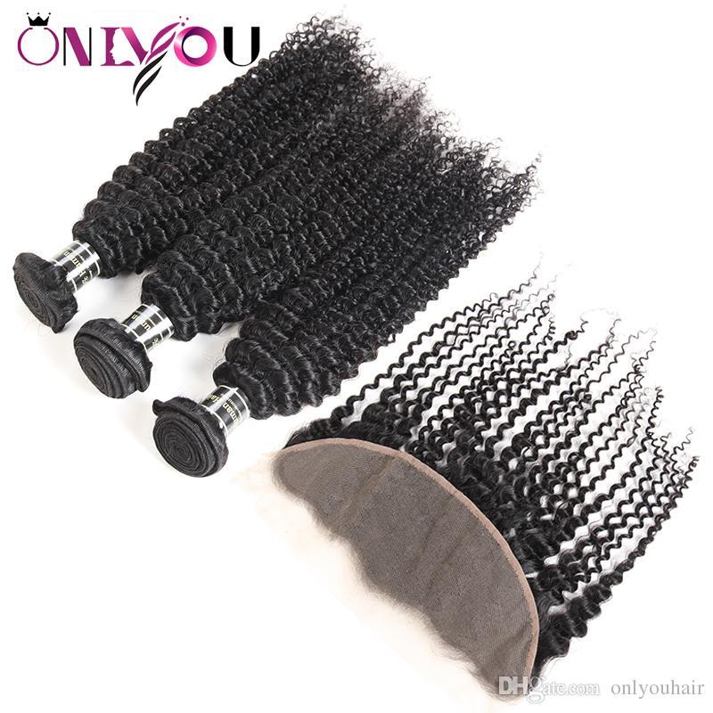 Дешевые Бразильские Волосы Девственницы Кружева Лобные Пучки 9а Класса Перуанский Наращивание Волос Человека Глубокая Волна Вьющиеся Волосы Плетение Закрытие с 3 Пучки