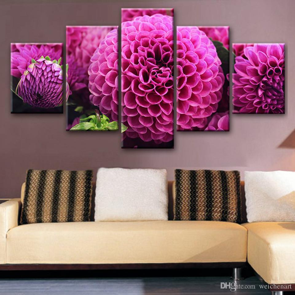 Art Poster Modular Pictures Canvas HD Printed Purple Flowers Paintings Framework Decor For Living Room Wall Modern Home