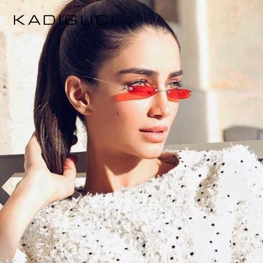 c5b9fd4a75bb7 KADEGUCI Narrow Sunglasses Men Rimless Summer 2018 Red Blue Black  Rectangular Sun Glasses For Women Small Face Hot Selling K0184 Police  Sunglasses Serengeti ...