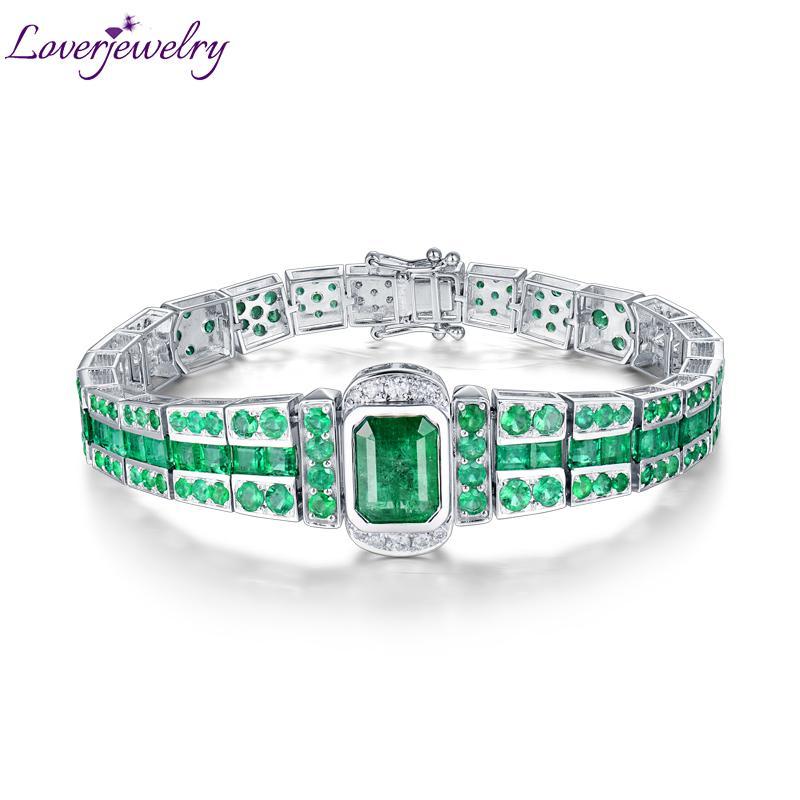 07bb64eac981 Compre Loverjewelry Lujo Diseño Sólido 18K Oro Blanco Esmeralda Pulsera  Princesa Ronda Princesa Diamante Piedras Preciosas Joyas Clásicas Para  Hombre A ...