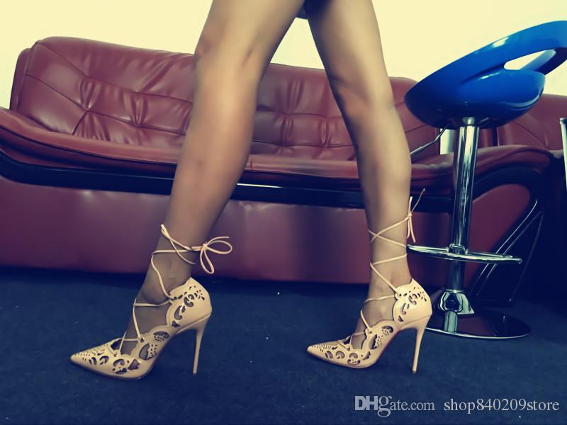 283b2e1d Marca Moda Mujeres punta estrecha oro tallado bombas de tacón delgado  cordones rojo blanco tacones altos zapatos de vestir formal zapatos de  cuero ...