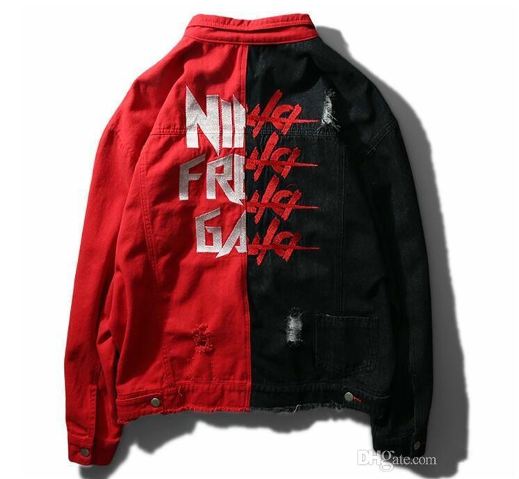 Ma1 New Black Red Splice Men Denim Jacket Male High Street Fashion