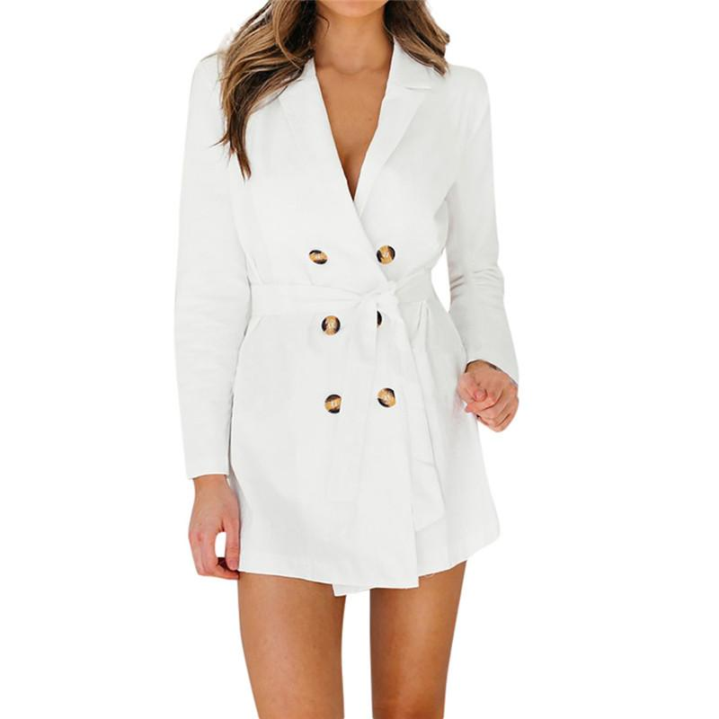 274cb677f2a7 2019 Winter Stylish Casual Women S Solid Long Sleeve Button White Trench  Coat Long Outerwear Loose Clothes For Lady With Belt  30 From Cashmere52