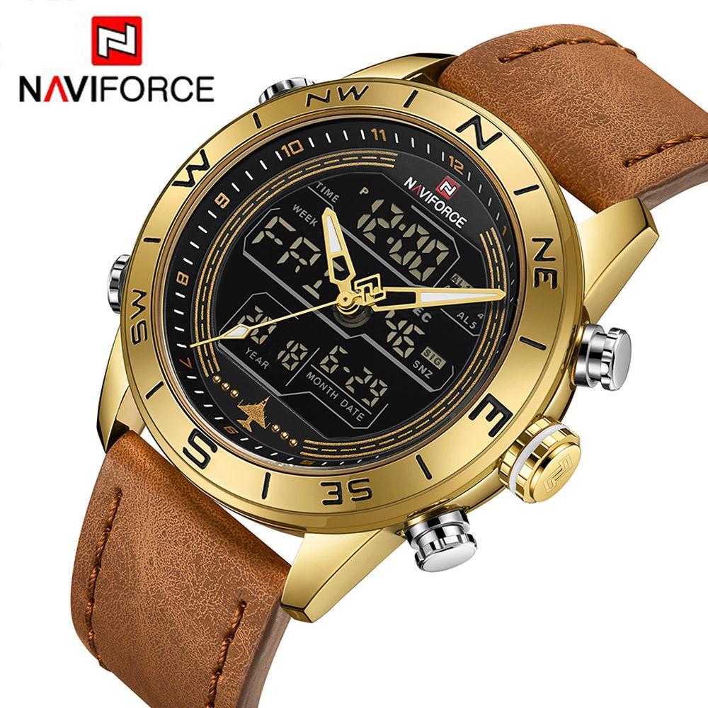 Ganz und zu Extrem Großhandel NAVIFORCE 9144 Mode Gold Herren Sport Uhren Herren LED &BC_04