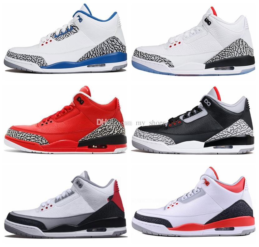 d73052f3d359 2019 3 Black Cement 3s White Cement 3 OG True Blue 3 Men Basketball Shoes  3s Wolf Grey Sports Sneakers Mens Trainer From My shoes