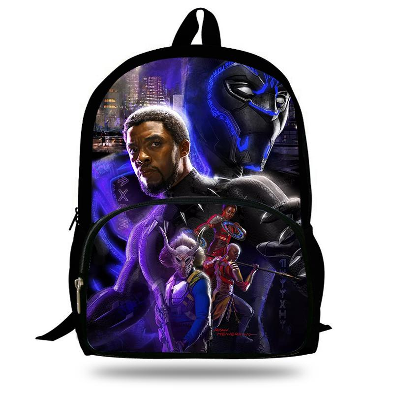 5aa25930519 16 Inch 2018 Hot Children Black Panther Marvel Backpacks For School Boys  Girls Printed Superhero Backpack For Kids Students Lunch Bags For Kids  Wholesale ...