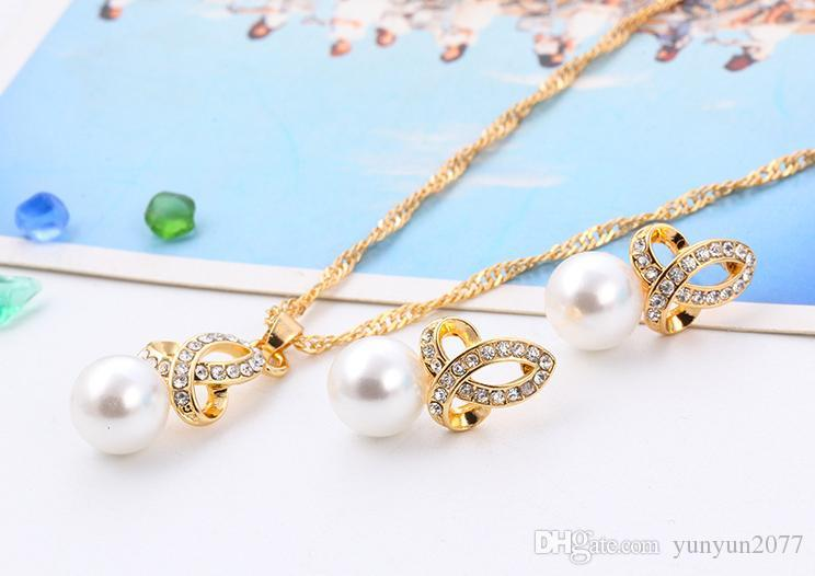 Fine Accessories Jewelry Sets Snowflake Pearls Rhinestones Bridal Wedding Chokers Necklaces Clavicle Chains Charm Stud Earrings For Women