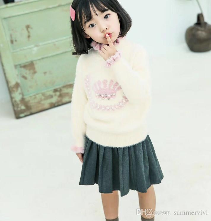 Kids Sweater Sweet Girls Beaded Crown Pattern Knitted Princess
