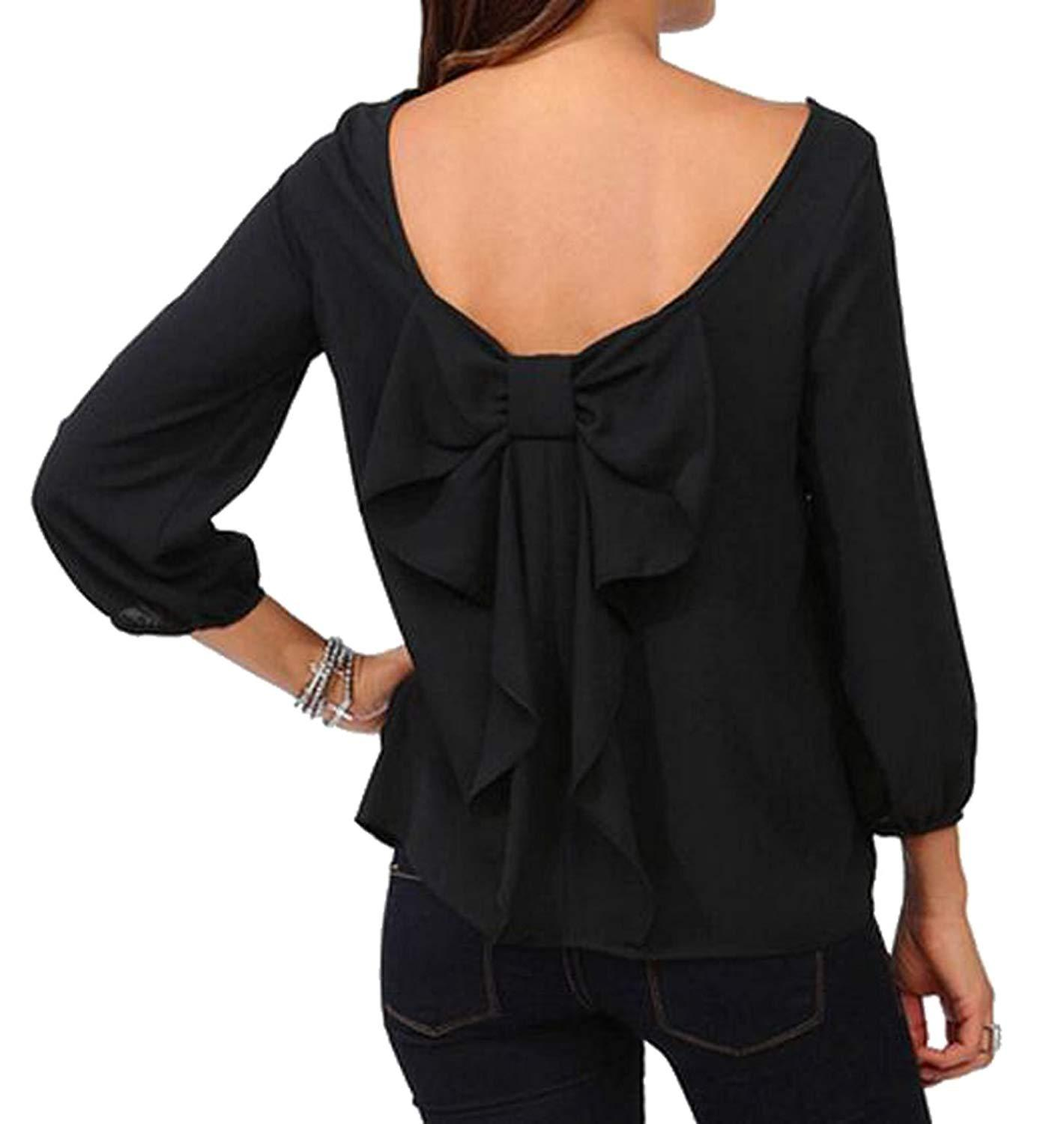 1e9c677f881c0 Womens Plus Size 3 4 Sleeve Solid Chiffon Shirt Top Blouse Find A Shirt  Shirts T Shirts From Goldenharvest