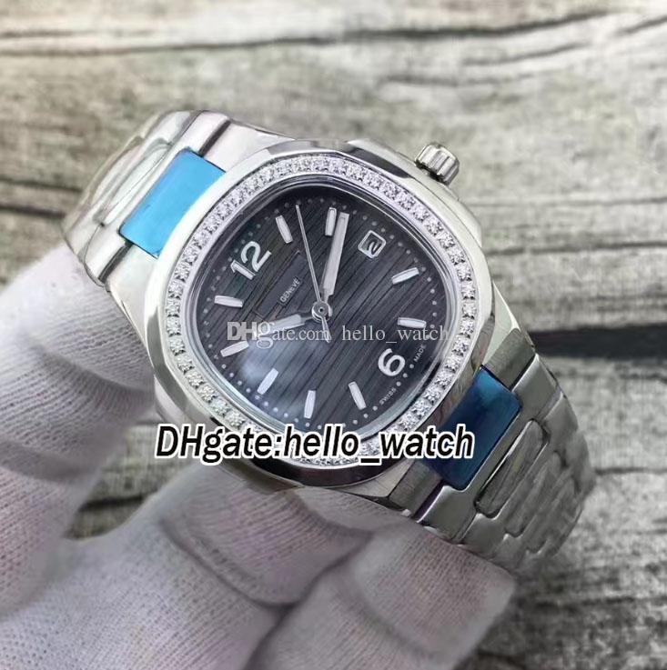 Brand Sport Nautilus 7010/1G-012 7010 Black Dial Swiss Quartz Womens Watch Silver Case Diamond Bezel Stainless Steel Bracelet Lady Watches
