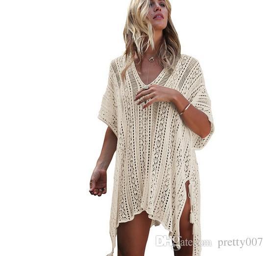 Mayo Kadın Plaj Bikini Mayo Için Kapak Up Mayo Tığ Elbise