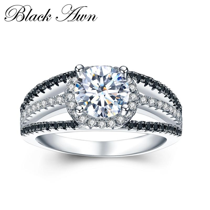 [BLACK AWN] 925 Sterling Silver Fine Jewelry Trendy Engagement Bague Wedding Rings for Women Size 6 7 8 C022
