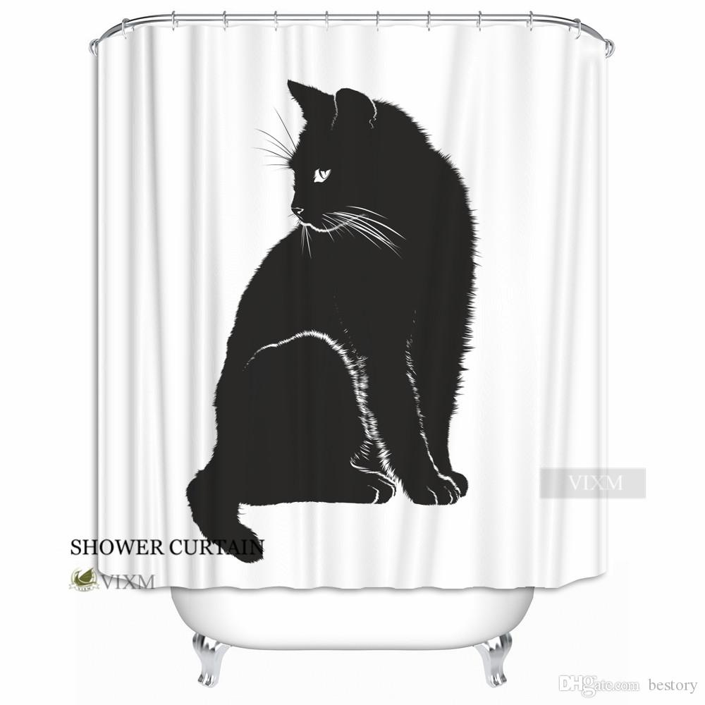 Vixm Home Farm Animal Black Cat Fabric Shower