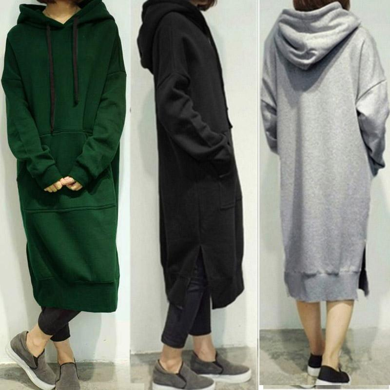 Frauen 2017 frühling herbst beiläufige lose lange hoodies sweatshirt oversize volle hülse fleece split kapuze dress vestidos plus größe