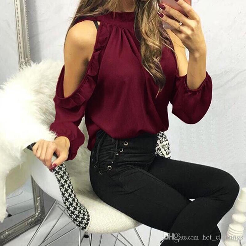 0990e961a2 Compre 2018 Nuevas Mujeres Moda Blusa De Hombro Abierto Verano Manga Larga  Con Volantes Borgoña Camisa Rosa Casual Blusa Suelta Tops Blusas 5XL A   15.83 Del ...