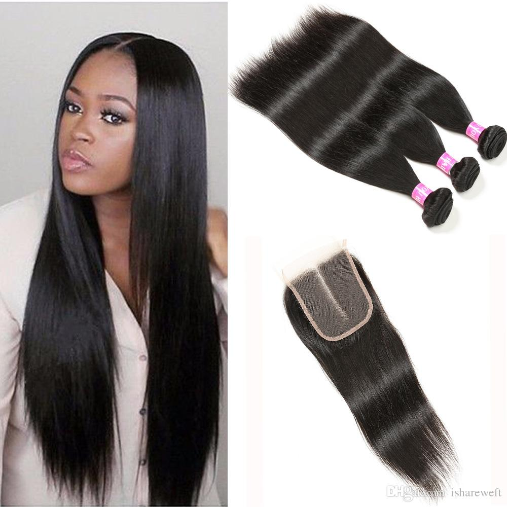 7a Brazilian Straight Hair Weave 3 Bundles With Closure Middle Part