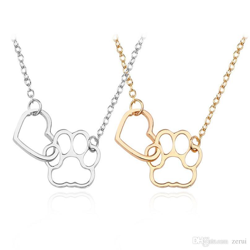 wholesale hollow pet paw footprint necklaces shellhard cute animal dog cat love heart pendant necklace for women girls jewelry necklace wolf pendant