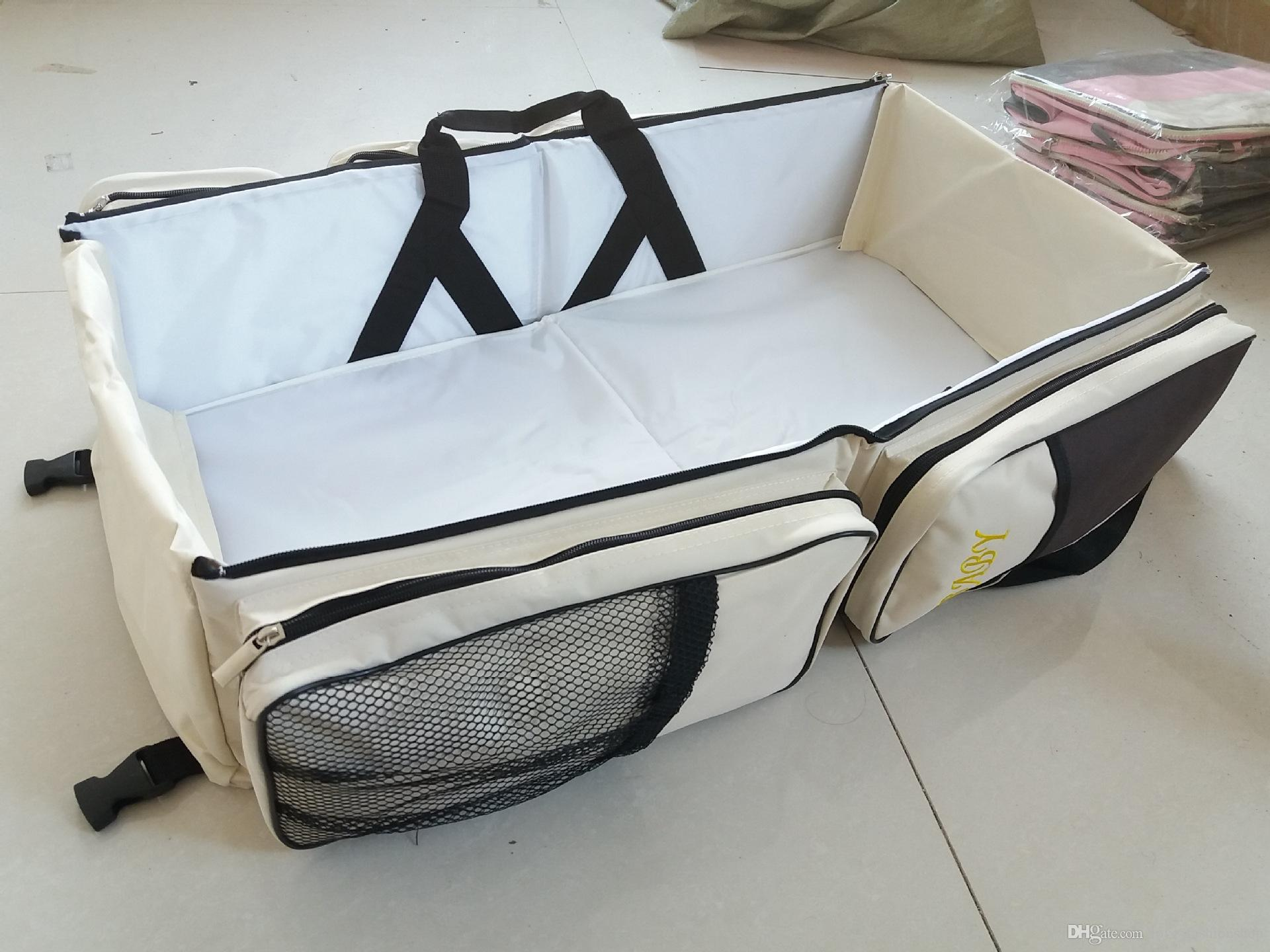Varejo Portátil Dobrável Baby Bed Bag Multi-Função Grande Mamãe Mamãe Mão ao ar livre Cama de Viagem Saco de Segurança Infantil Nappies Drawpers Tote