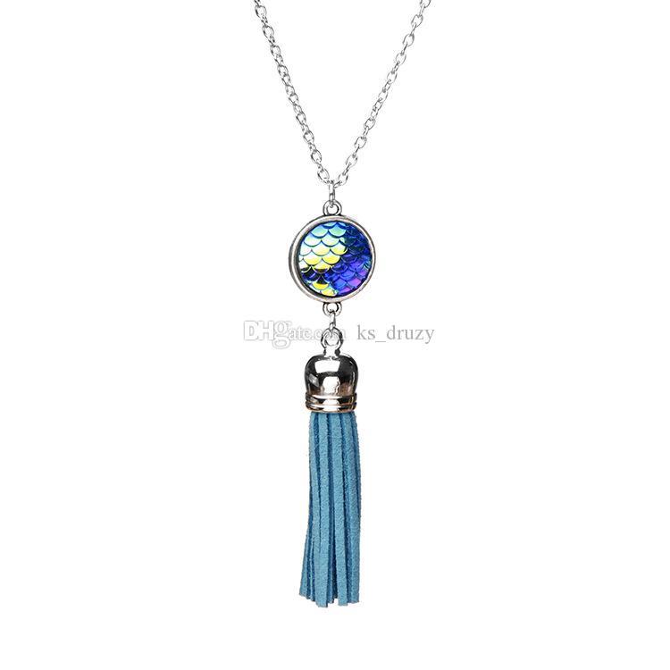 Mode 16mm Mermaid Fisch-Skala-Anhänger Druzy Drusy Halskette Leder Quasten langen Kette Pullover Halskette Schmuck