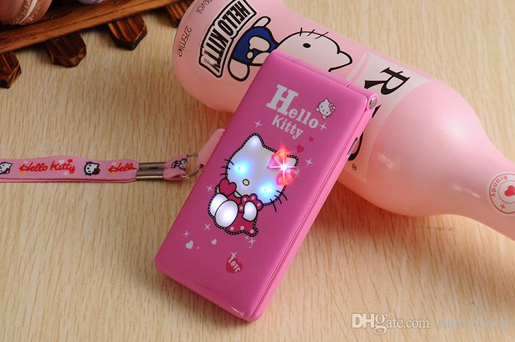 Touch screen originale KUH D10 Dual SIM Card Flip Phone GPRS Breath Light Cell Phone donne ragazza MP3 cartoon ciao kitty cellulare