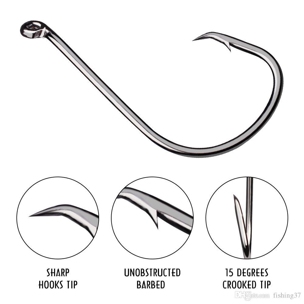 7384 1/0 # -8 / 0 # Krank Hook Yüksek Karbonlu Çelik Dikenli Balıkçılık Kancalar Balık oltaları Pesca olta takımları Aksesuarlar A-039
