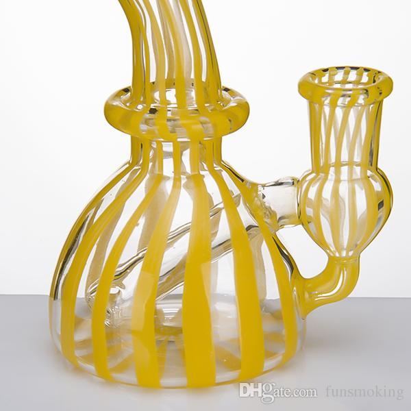 Glass Water Pipe 14mm female Glass Banger Hanger nail dab Rig oil Rigs yellow pipes bongs heady Beaker bubbler 935