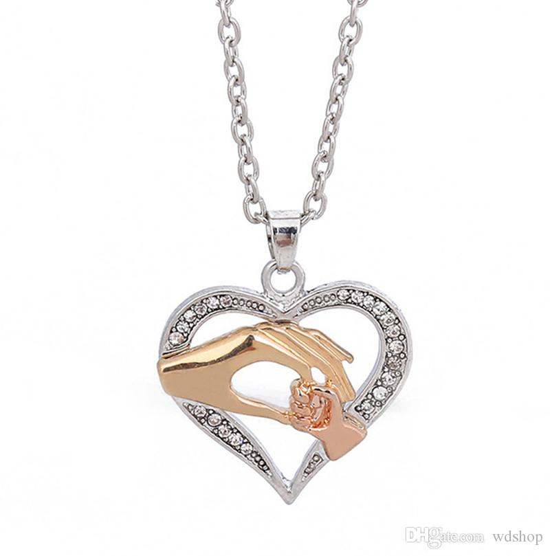 necklace holding child inlay shaped diamond heart mother hands pendant itm