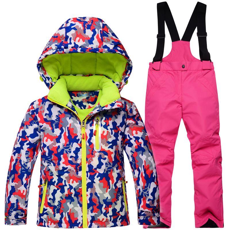 8da105d26dd9 2019 Boys Girls Winter Snowboard Skiing Jacket Snow Bib Snowsuit Set ...