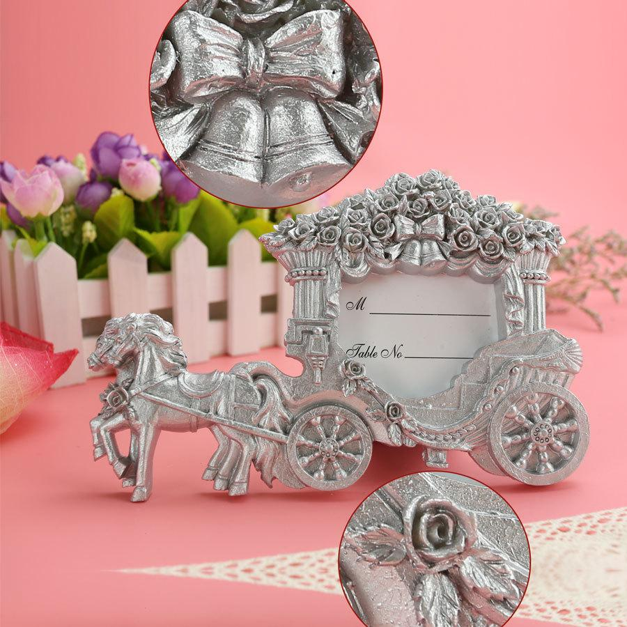 FEIS wholesale Cinderella Resin silver Carriage Place Card Holder wedding Engagement Party banquet name cards wedding favor