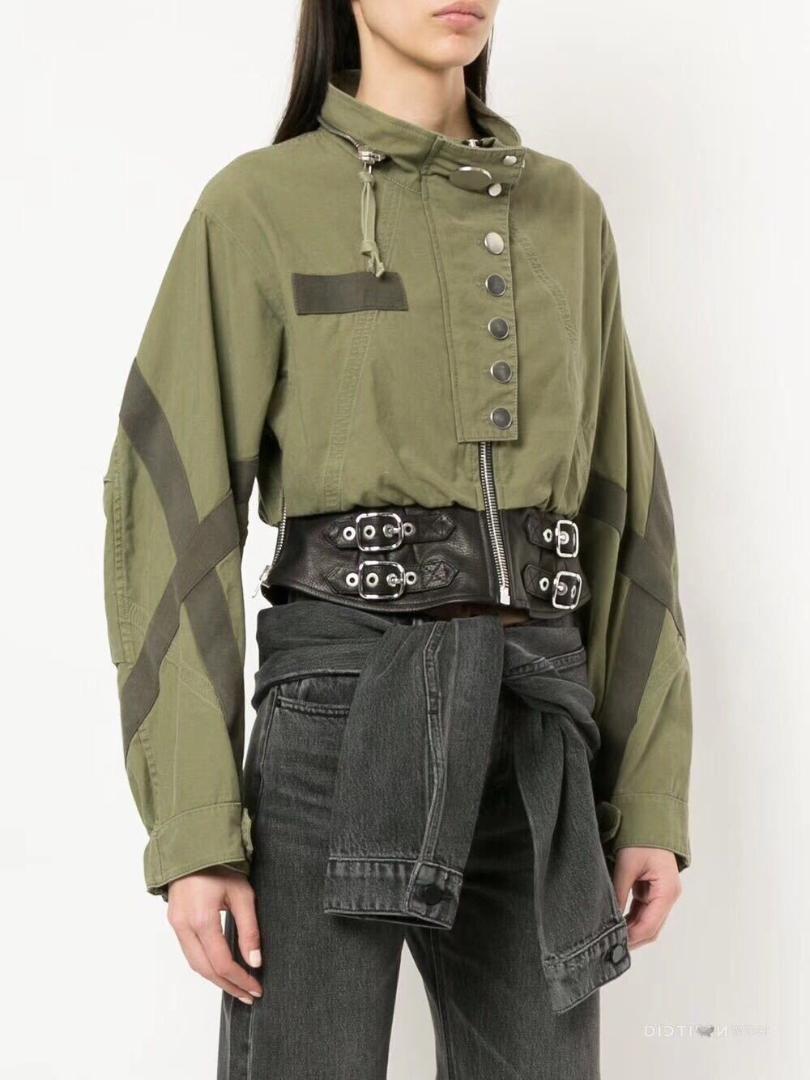 Chic Stand Collar Women Jackets 2018 Autumn Fashion Army Green