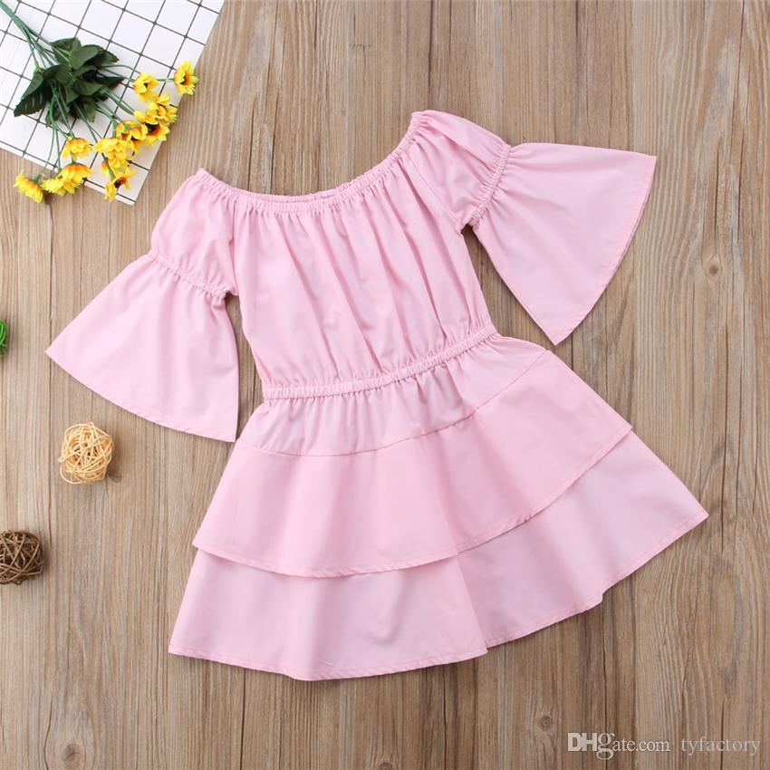 Kids Baby Girls Pink Solid Color Off Shoulder Dress Kid Clothing Princess Party Pageant Holiday Tutu Dresses Children Girls Vestidos 1-6Y