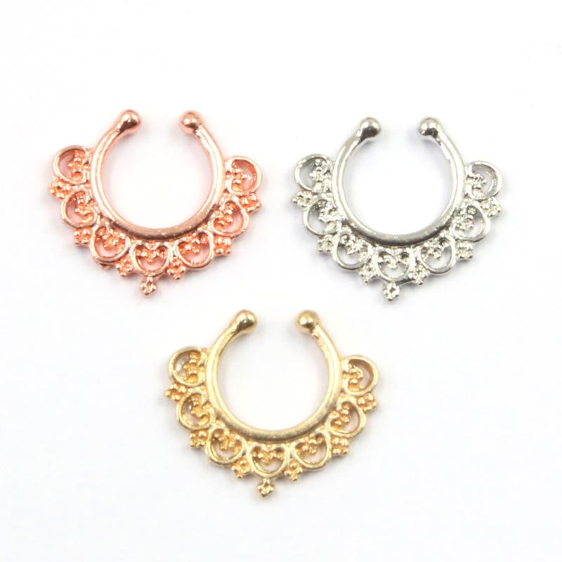30pcs Hotselling New fake nose Rings and studs indian Piercing septum clip mixed color hoop ring for Women body jewelry N0058