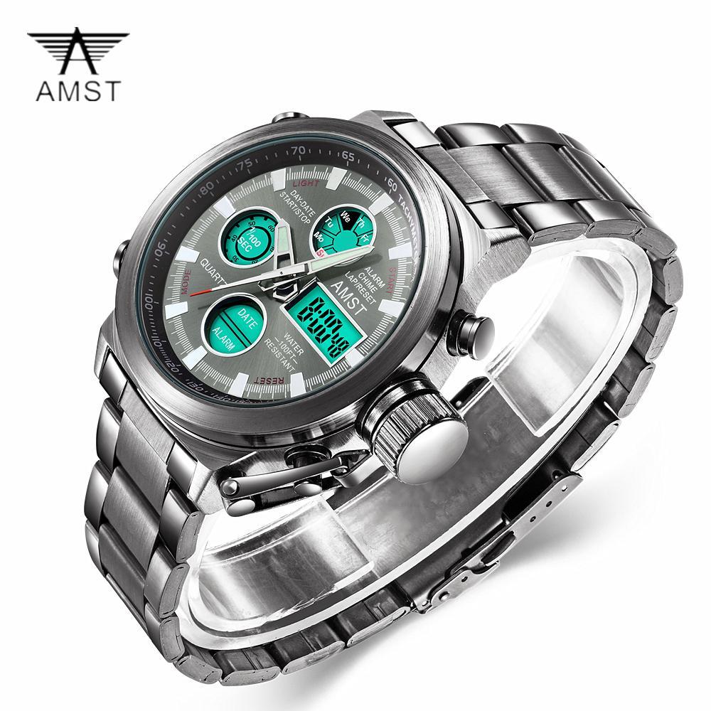 f292d97579a Compre AMST Venda Quente Dos Homens Relógios Desportivos LED Relógios  Analógicos Digitais À Prova D  Água Relógio De Quartzo Relógio De Aço  Inoxidável ...