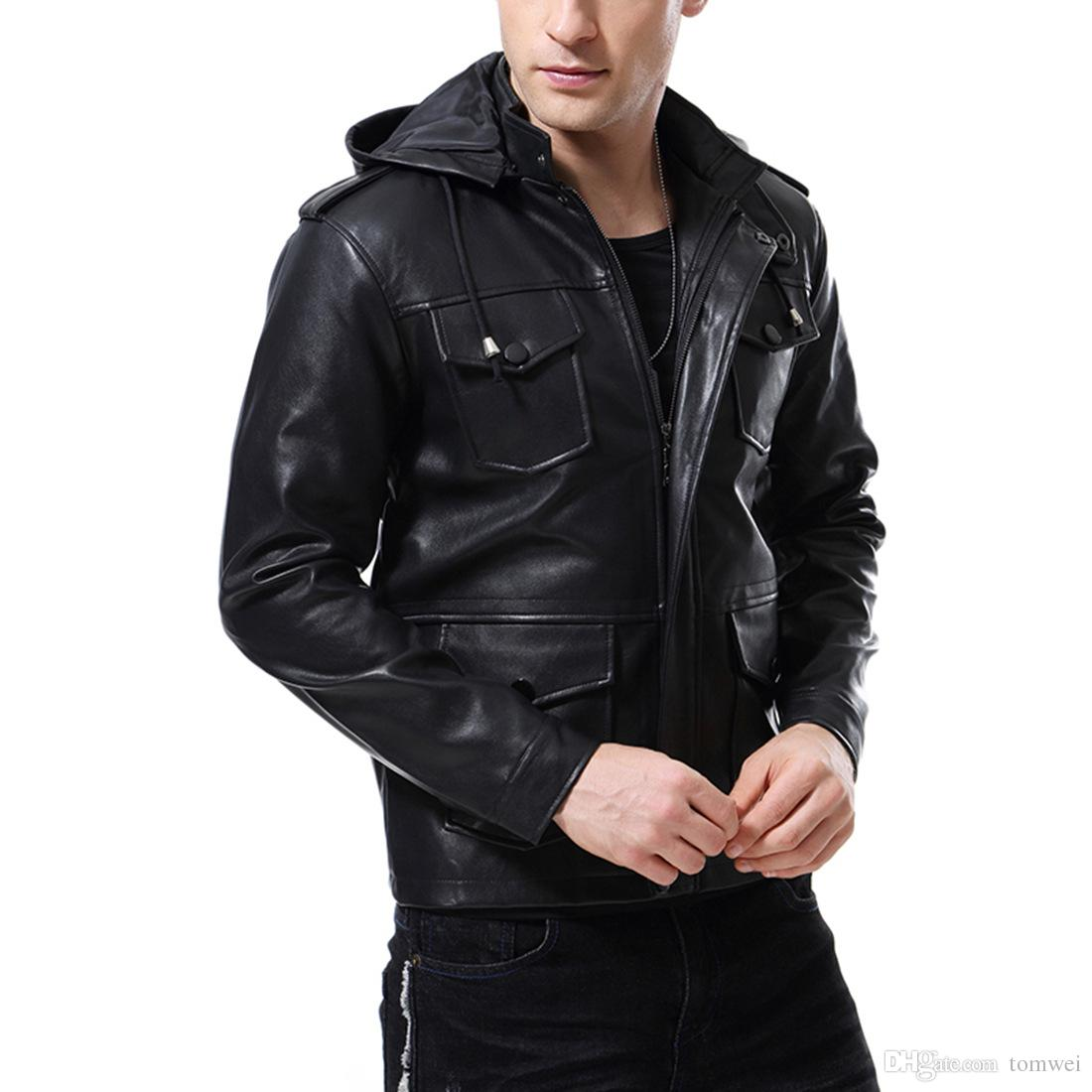 2019 Motorcyle Biker Jackets Hoodies Leather Clothing For Men Autumn