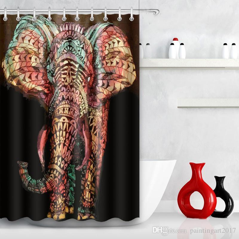 Tenda da doccia impermeabile con bagno in tessuto di elefante con tappetino da bagno
