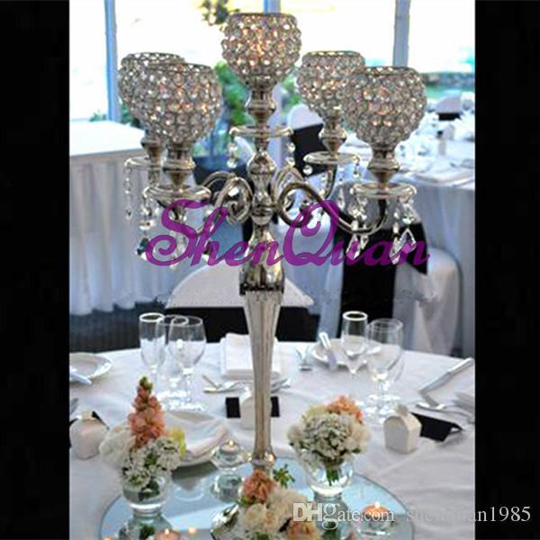 حامل شمعة الزفاف ذات جودة عالية ، وأكثر حجم هدية الزفاف كريستال حامل الشاي الخفيف ، طويل القامة الشمعدانات الزفاف الديكور ، حامل شمعة معدنية