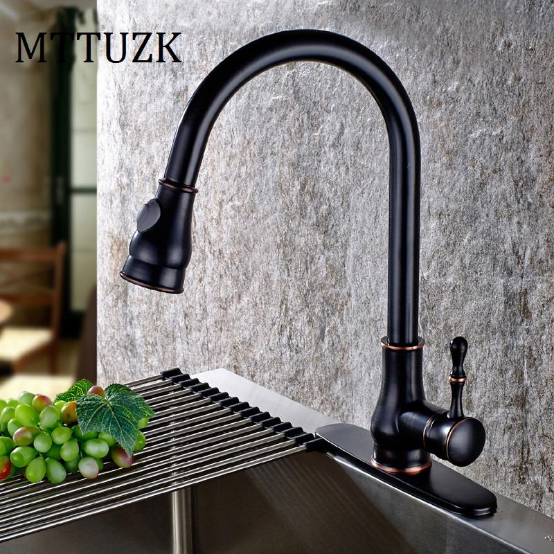 2018 Mttuzk Oil Rubbed Bronze Pull Out Spray Head Kitchen Faucet Mixer Tap  Swivel Spout Cold Hot Black Sink Faucet Deck Plate Cover From Hymen, ...