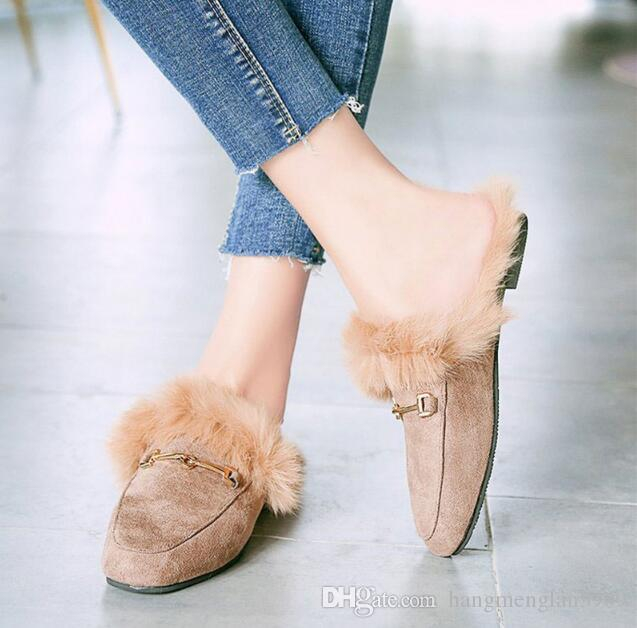 2018 nuove donne primavera scarpe di lusso perline Moda Donna Sandali scarpe a punta Ciabatte Slip On Scivoli Tacchi alti estate tacco piatto