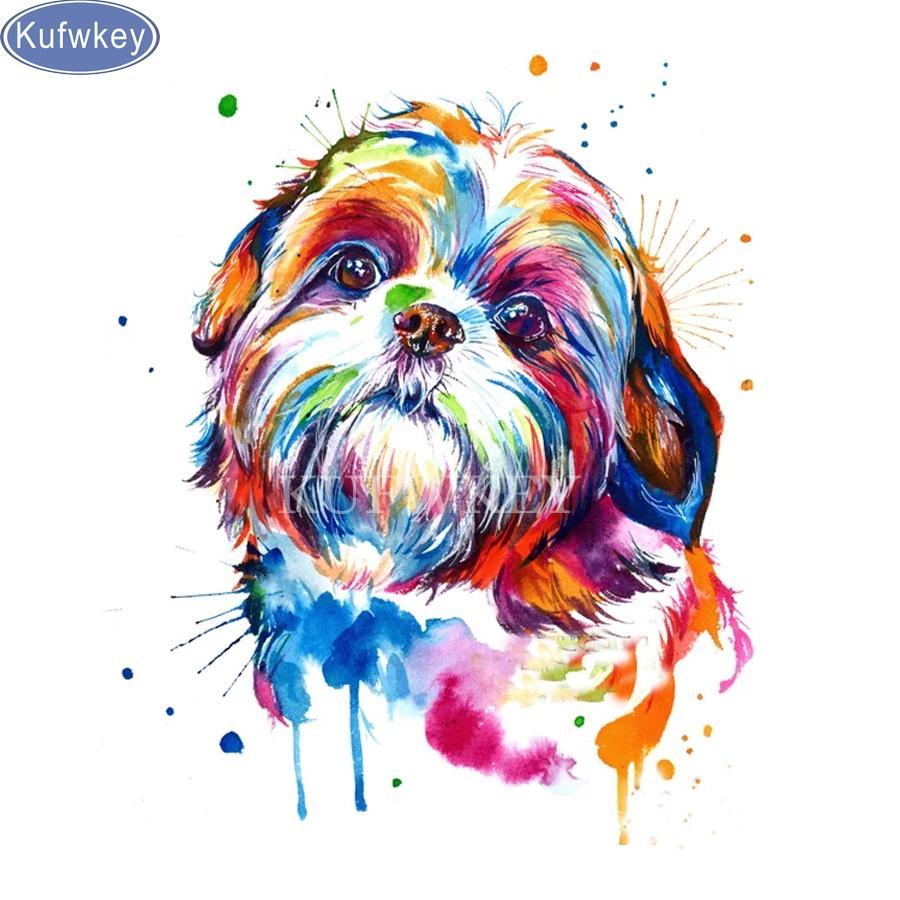 Satın Al Shih Tzu Köpek Suluboya Diy 5d Elmas Boyama çapraz Dikiş