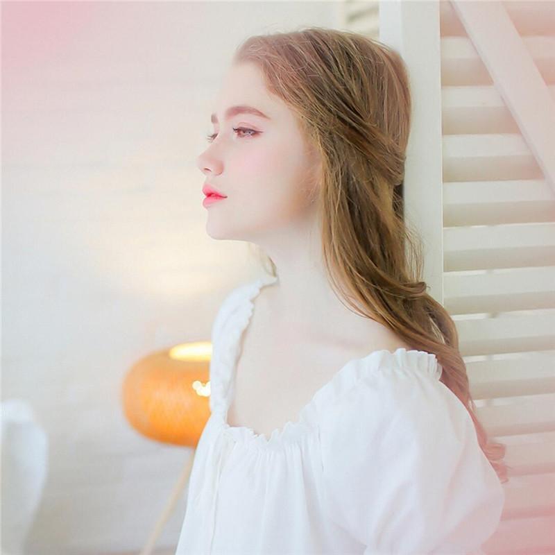 2016 Summer Sleep Lounge White Cotton Sleepwear Female Home Dress Lace Long Princess Vintage Nightgown Women Sleeping Dress