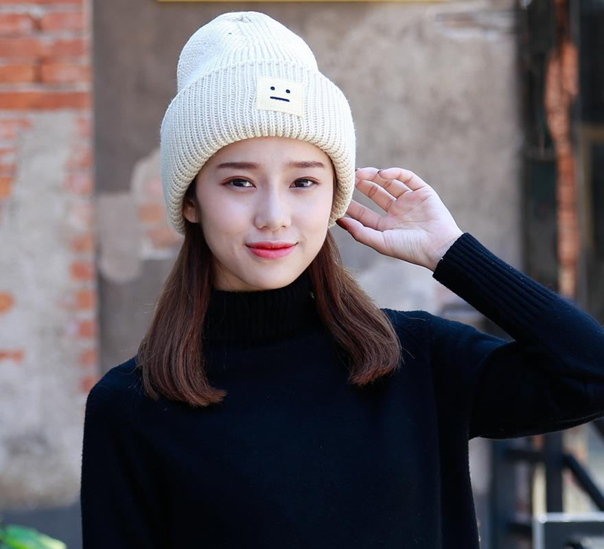 Women s Hats Winter Korean Knit Hat Thick Wool Hat Ladies Lovers ... d674a80f1f28