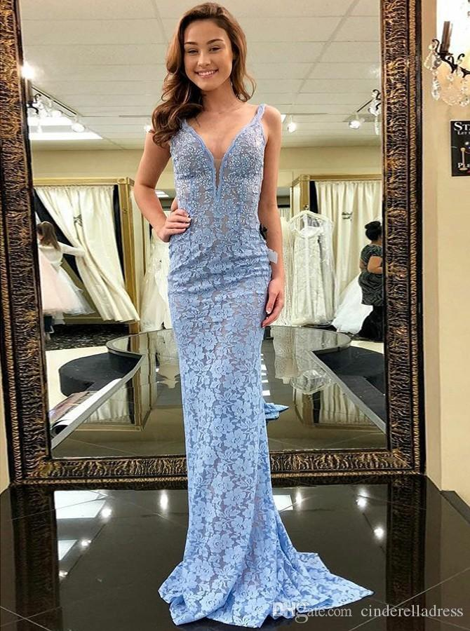 Garden Pink Youthful Prom Dresses 2018 Mermaid V Neck Backless Sleeveless Sweep Train Lace Cutaway Sides Ladies formal tuxedo