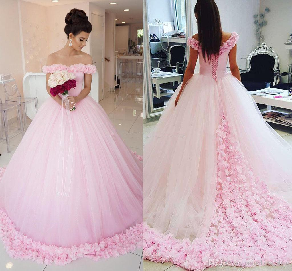8b0417748b701 2019 Gorgeous Ball Gown Prom Dresses Off Shoulder Short Sleeves Tulle Puffy  Floral Long Evening Gown Fairytale Pink Quinceanera Dresses